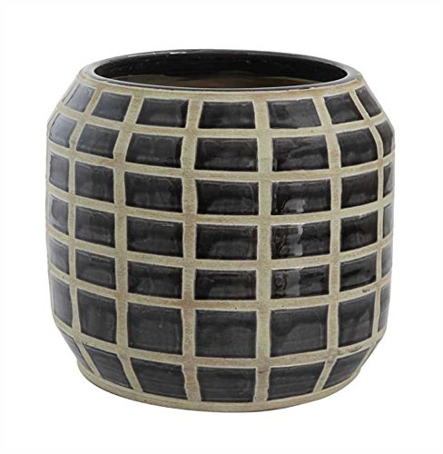 Black & White Grid Pattern Terra Cotta Pot by Heart of America