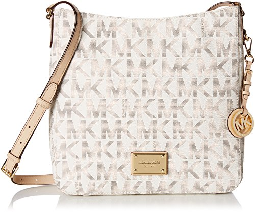 Michael Kors Women's Jet Set Travel Logo Large Messenger Leather Messenger Bag Satchel - Vanilla