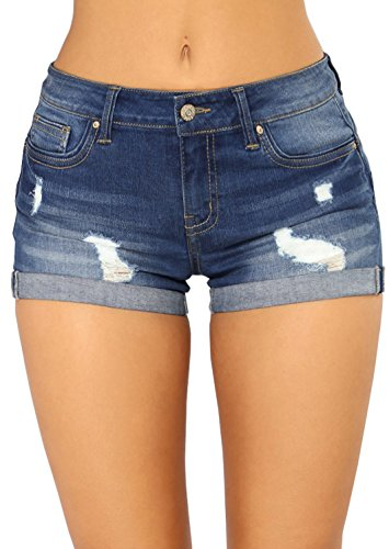 Tengo Women's Juniors Mid-Rise Body Enhancing Stretchy Fabric Ripped Denim Shorts(Blue,S) Denim Jean Fabric