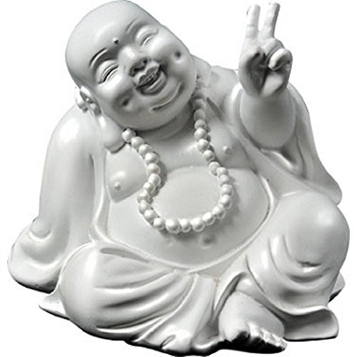 Sign Statue (StealStreet 42141 3.33 inch Sitting Peace Sign Buddha Ceramic Religious Figurine, White)