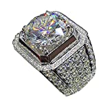 A.Yupha 18K White Gold Iced Out Band Hiphop Engagement MICROPAVE CZ Pinky Men Women Ring (7)