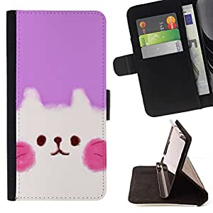 Momo Phone Case / Flip Funda de Cuero Case Cover - Cute Puppy Rosa Blanco - LG G4 Stylus H540