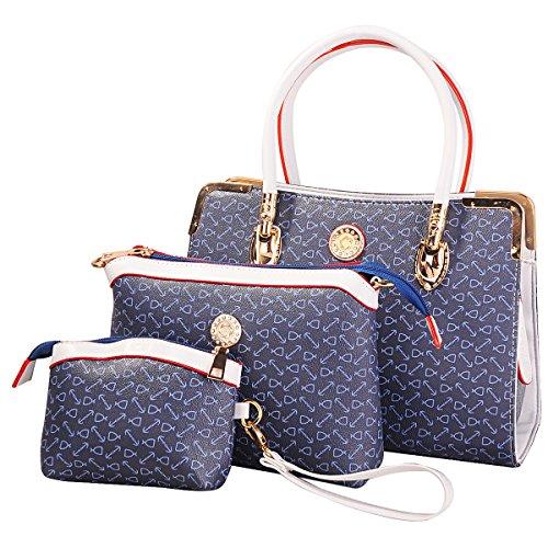 Deluxe Women 3 Piece Tote Bag Pu Leather Handbag Purse Bags Set (Dark Blue)