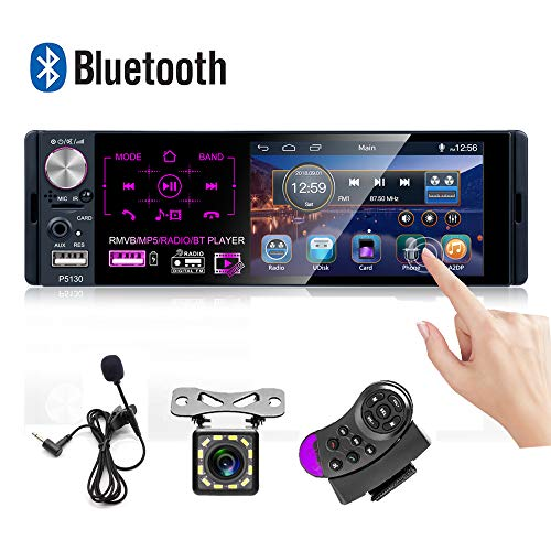 Car Stereo 4'' Capacitive Touch Screen Single Din Bluetooth Car Player FM/AM/RDS Radio Receiver with Dual USB/AUX-in/SD Card Port + Backup Camera + Microphone 4' Touch Screen Display