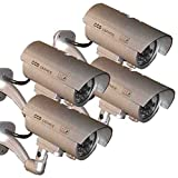 4 Pack - JYtrend (TM) Outdoor Dummy Fake Security Camera with Inflared Leds BLINKING LIGHT, Silver