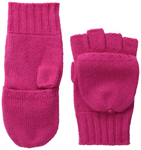 Sofia Cashmere Women's Fingerless Flip-Top Mittens, Crimson, One Size
