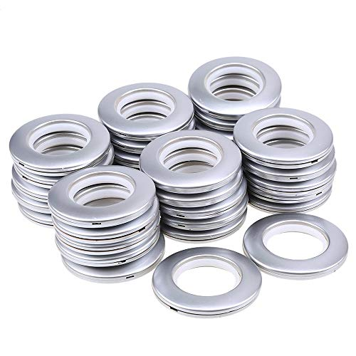 32PCS Curtain Grommet, DeSS Curtain Eyelet Rings Clips Inner Diameter 40mm DIY Rings for Window Curtain, Shower Curtain, Locker Room Door Curtains, Backpack Bag Hole Matt Silver