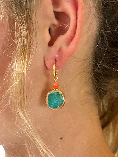 Turquoise Earrings, Coral And Turquoise, Gold Edged Artisan Gemstones, Genuine Turquoise, Rustic, Boho, Summer Earrings, 24K Gold Vermeil.