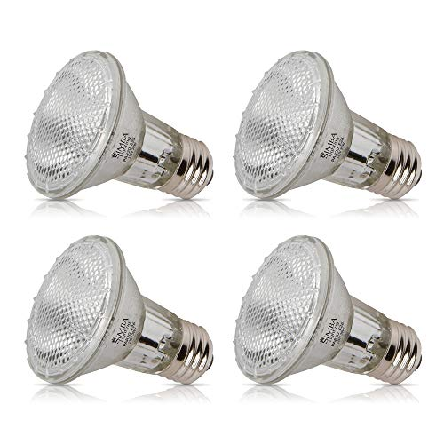 Simba Lighting 39PAR20/FL Halogen PAR20 Light Bulb 39W 30deg Spotlight Dimmable (4-Pack) for Indoor Recessed Can, Range Hood and Outdoor PAR 20, 120V E26 Base, 50W Replacement, 2700K Warm White