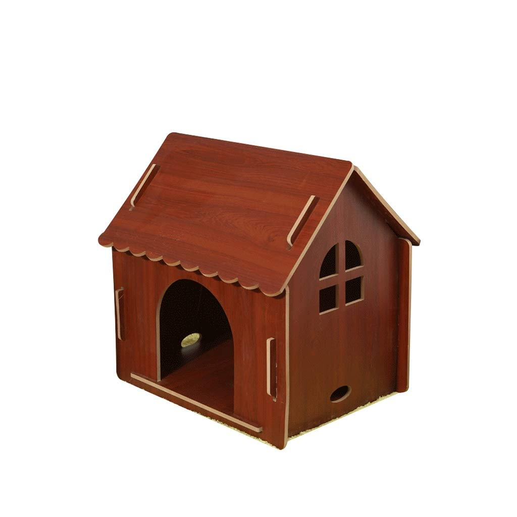 BROWN L BROWN L Solid Wood Dog House, Wooden Windproof Dog House House Four Seasons Universal Small and Medium Dog Cat Litter Kennel (color   Brown, Size   L)
