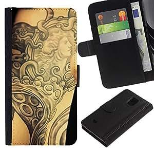 """Be-Star la tarjeta de Cr¨¦dito Slots PU Funda de cuero Monedero caso cubierta de piel Para Samsung Galaxy S5 Mini (Not S5), SM-G800 ( Tinta del tatuaje del arte de cuerpo de la diosa antigua Brazo"""" )"""