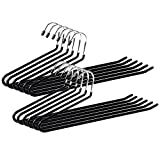 Ohuhu Set of 12 Heavy Duty Slacks/Trousers Hangers Open Ended PantsEasy Slide Organizers, Chrome and Black Friction