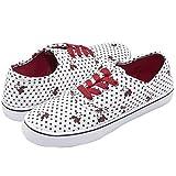 Disney Minnie Mouse White Black Polka Dot Print Red/Gold Sparkly Lace up Fashion Sneaker White 10
