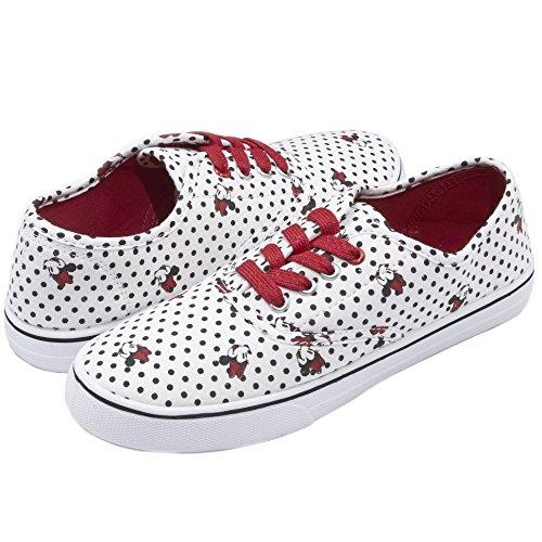 Disney Minnie Mouse White Black Polka Dot Print Red/Gold Sparkly Lace up Fashion Sneaker White 10 -