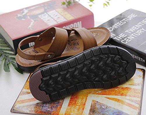 Sandali Uomini Tempo libero Scarpe da spiaggia Estate I pattini della pelle molle della pelle bovina dei sandali del nuovo pattino dell'azionamento di modo di gioventù, Khaki, UK = 8, EU = 42