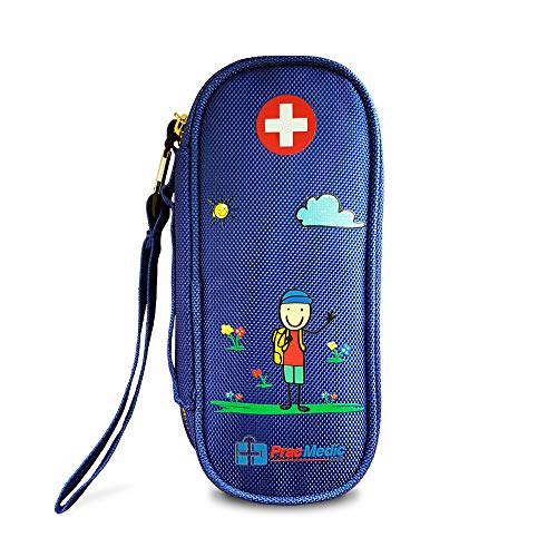 - PracMedic EPIPEN Carrying Case for Kids- Holds 2 Epi Pens or Auvi-Q, Asthma Inhaler, Generic Benadryl Small, Nasal Spray, Eye Drops, Medicine, Vials, Syringes, Ice Pack- Sold Empty (Blue)