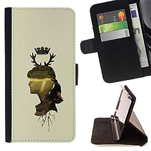 DEVIL CASE - FOR Samsung ALPHA G850 - Woman Profile Portrait Nature Crown Horns Deer - Style PU Leather Case Wallet Flip Stand Flap Closure Cover
