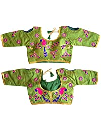 Ram Fashion's Women's Party Wear Readymade Bollywood Designer Indian Style Padded Blouse for Saree Crop Top Choli 114 Green