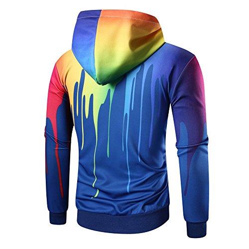Manica Lunga Cappotto Con Stampa Blue Felpa Digitale Uomo Bhydry Outwear b Top wd60txqRE