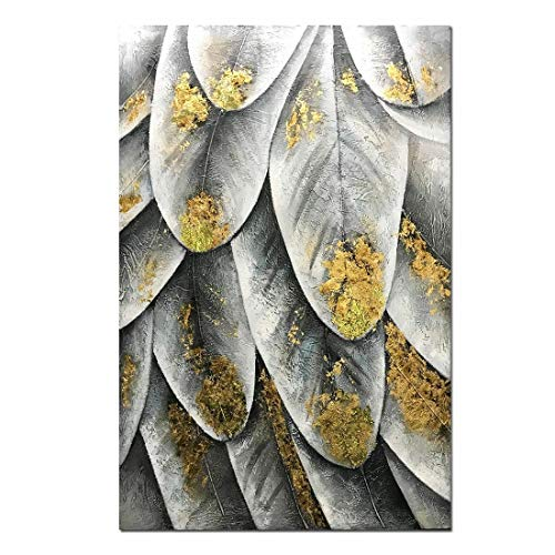 Yotree Paintings, 24x36 Inch Paintings Gray Gold Dream feather Oil Hand Painting 3D Hand-Painted On Canvas Abstract Artwork Art Wood Inside Framed Hanging Wall Decoration Abstract Painting ()