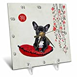 3dRose Beverly Turner Chinese New Year Design - French Black and White Bulldog on Pillow, Sign of the Dog, Blossoms - 6x6 Desk Clock (dc_262889_1)