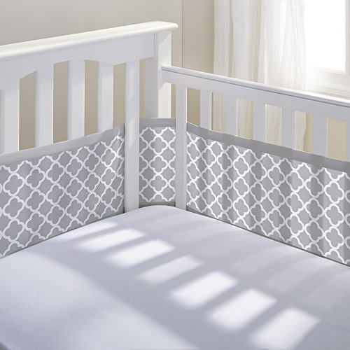 BreathableBaby | Breathable Mesh Printed Crib Liner | Doctor Endorsed | Helps Prevent Arms and Legs from Getting Stuck Between Crib Slats | Independently Tested for Safety | Gray Clover by BreathableBaby