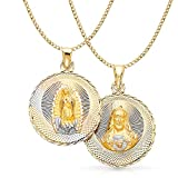 14K Tri Color Gold Diamond Cut Double Side Stamp Virgin Mary & Jesus Charm Pendant with 3.4mm Hollow Cuban Chain Necklace