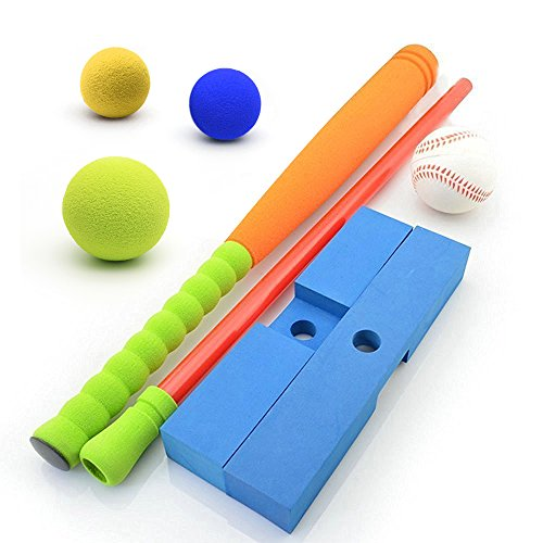 [Standard Size] CELEMOON Kids Soft Foam T-Ball/Baseball Set Toy, 4 Different Colored Balls, Carry/Organize Bag Included, For Kids Over 3 Years Old