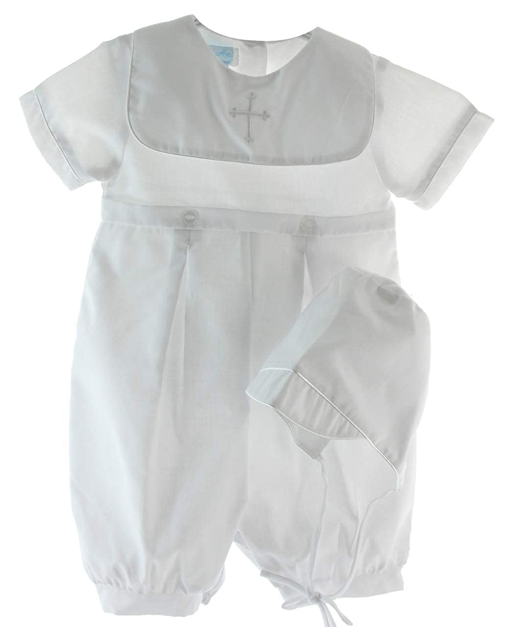 Boys White Christening Outfit Square Cross Collar with Bonnet