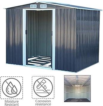 Jardín de almacenamiento al aire libre derramada caja impermeable a la corrosión de metal con dos puertas correderas, rejillas de ventilación y de cuatro bases piso,Grey: Amazon.es: Hogar
