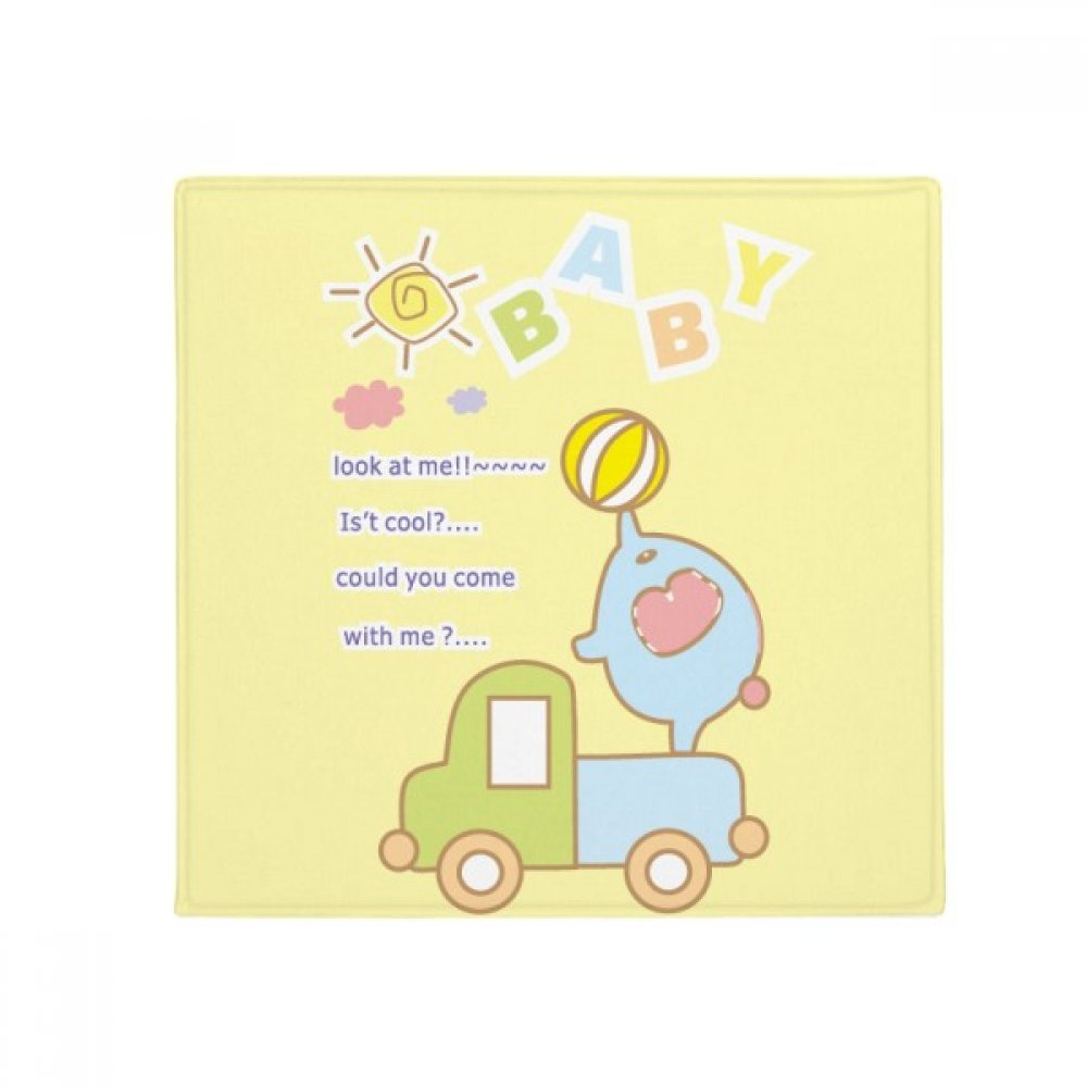 DIYthinker Cartoon Baby Ball Elephant Truck Animal Anti-Slip Floor Pet Mat Square Home Kitchen Door 80Cm Gift
