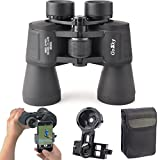 10X 50 Binoculars Smartphone Adapter Kit for Adults and Kids -for Bird Watching Travelling Landscape Stargazing Hunting Concert Sports Outdoor Games- BAK-4 Prism/MultiCoated Lens/Large Eyepiece Design