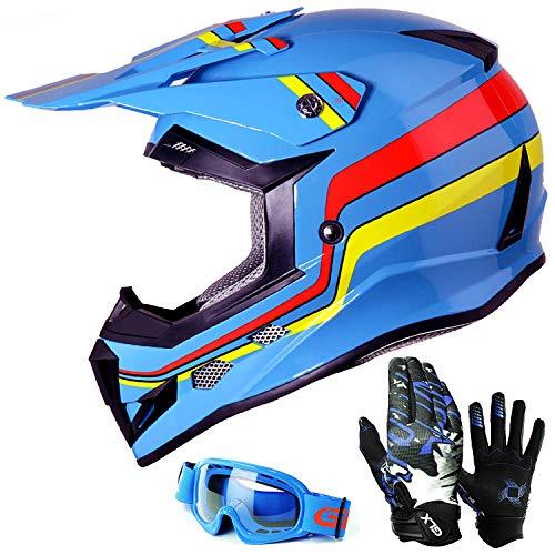 GLX Unisex-Child GX623 DOT Kids Youth ATV Off-Road Dirt Bike Motocross Helmet Gear Combo Gloves Goggles for Boys & Girls (Retro Blue, Large) (Kid Motocross Helmet)