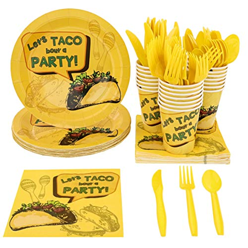 (Blue Panda Mexican Taco Fiesta Party Pack Supplies for 24 Guests - Plates, Knives, Spoons, Forks, Napkins, and Cups)