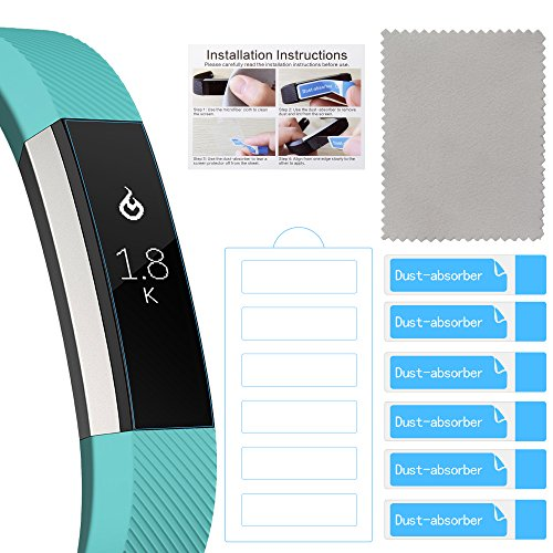 Fitbit Alta Screen Protector, 12 Pcs QIBOX Premium Clear Shatterproof Screen Protectors for Fitbit Alta Fitness Tracker, Anti-Fingerprint Anti-Scratch Film Cover, Protective Screen Guard