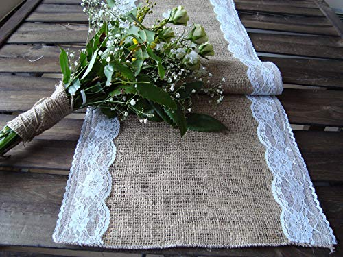 Cottage Lace (118 inches Burlap Table Runner, Rustic Wedding Table Decor, Burlap White Lace Runner, Cottage Chic Table Runner Shabby Chic table runner)