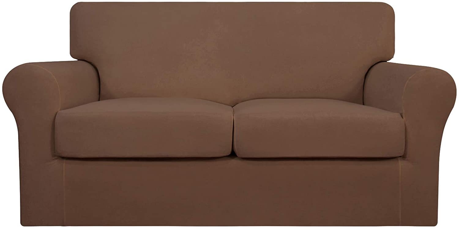 Easy-Going 3 Pieces Stretch Soft Couch Cover for Dogs - Washable Couch Slipcover for 2 Separate Cushion Couch - Elastic Furniture Protector for Pets, Kids (Loveseat, Brown)