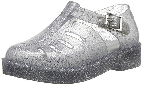 Light Silver Mini (Mini Melissa Girls' Mini Aranha 79 16 Flat Sandal, Light Silver Sparkle, 8 Regular US Toddler)