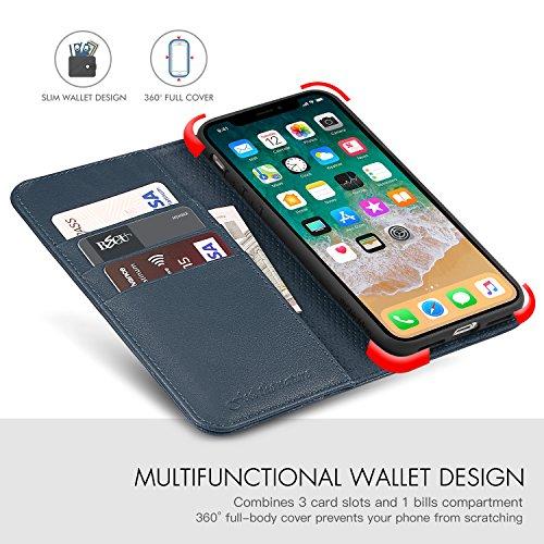 Funda iPhone X, SHIELDON Funda iPhone X Piel Resistente con Billetera para Tarjetas, Amortiguación de TPU Interior Suave, Carcasa en Libro, Soporte Plegable para Apple iPhone X/iPhone 10(5.8) - Negro Azul