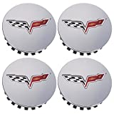 OEM NEW Wheel Hub Center Cap Set of 4 Silver w/Flag Logo 08-13 Corvette 9597834
