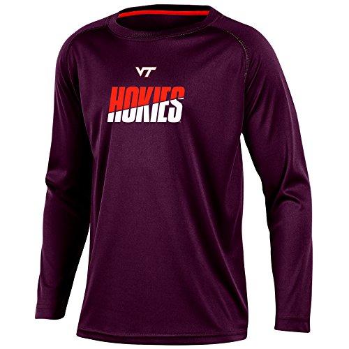 NCAA Virginia Tech Hokies Youth Boys Long Sleeve Crew Neck T-shirt, (Champion Boys Tech Tee)
