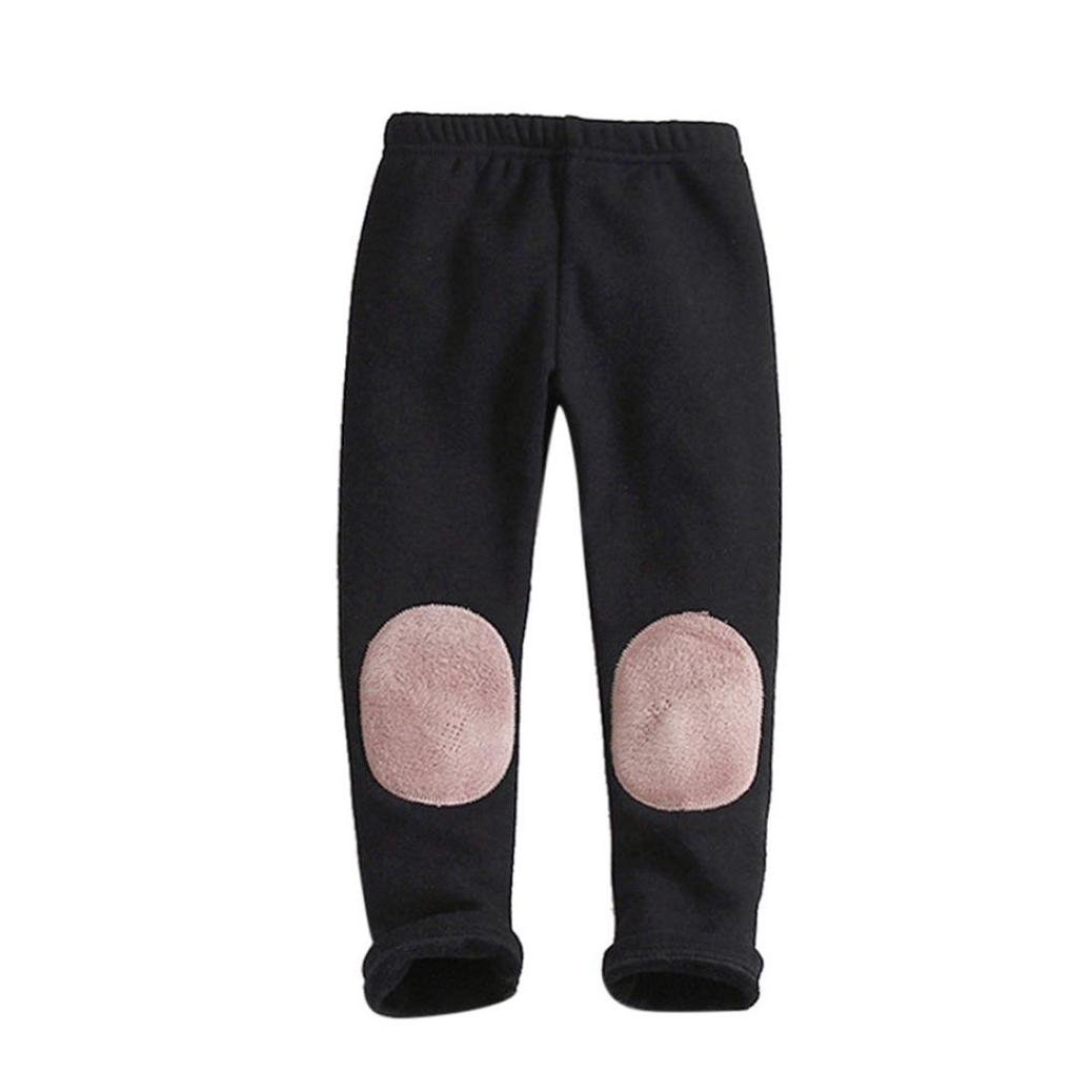 3T, Black Wondere Winter Warm Kids Daily Thick Lined Long Patchwork Pants Baby Girls Boys Cotton Stretch Leggings Trousers