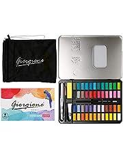 Ecbrt - Juego de pintura para acuarela, 48 colores, kit de acuarela con pincel de agua, lápices, bolsa, papel de acuarela, kit de acuarela para artistas, estudiantes, niños, adultos, principiantes