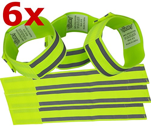 - Reflective Band (6 Bands/3 Pairs) | High Visibility Safety Gear for Running, Bike, Dog Walking, Jogging | Wearable as Ankle Bands, Armband, Wristbands | Made of Silver Strap, Elastic