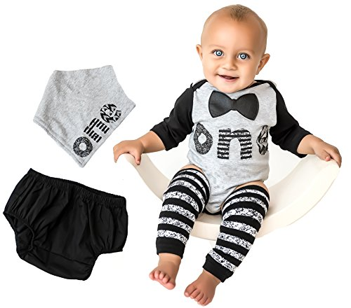Birthday Onesie Classy Outfit Set Bow Tie Shirt Black White Cake Smash 5 Piece Set 12-18 mnth ()