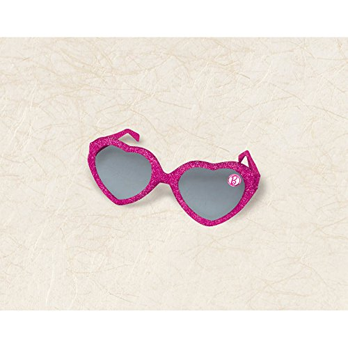 Hot Barbie Costume (Barbie Sparkle Glitter Heart Shaped SunglassesBirthday Party Costume Accessory Favour (6 Pack), Magenta, 5