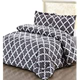 Printed Comforter Set with 2 Pillow Shams - Luxurious Soft Brushed Microfiber - Goose Down Alternative Comforter by Utopia Bedding (Grey, King)