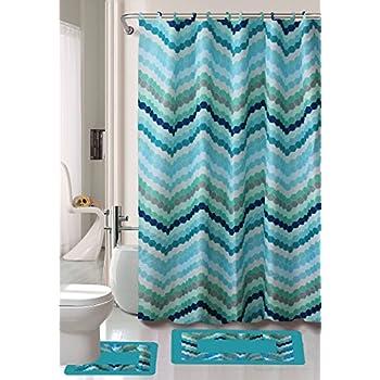 Gorgeous Home 15PC BLUE WAVES CIRCLE DESIGN BATHROOM BATH MATS SET RUG CARPET SHOWER CURTAIN HOOKS NON SLIP