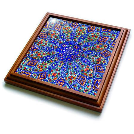 3dRose Danita Delimont - Patterns - Islamic Designs on Blue Pottery, Madaba, Jordan - 8x8 Trivet with 6x6 ceramic tile (trv_276903_1) by 3dRose