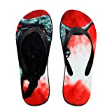 Couple Flip Flops Bulls Cow Red Print Chic Sandals Slipper Rubber Non-Slip Spa Thong Slippers